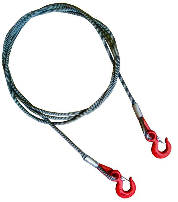 Буксировочный трос стальной 12 т. Диаметр троса 11 мм. Крюк/Крюк